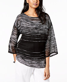 Eileen Fisher Organic Linen Printed Top, Regular & Petite