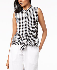 Eileen Fisher Organic Cotton Gingham Mandarin-Collar Tunic, Regular & Petite