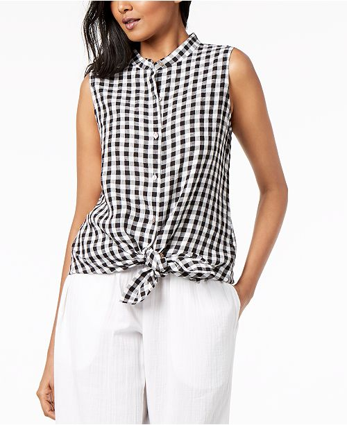 5e7aa94d51 Eileen Fisher Organic Cotton Gingham Mandarin-Collar Tunic ...
