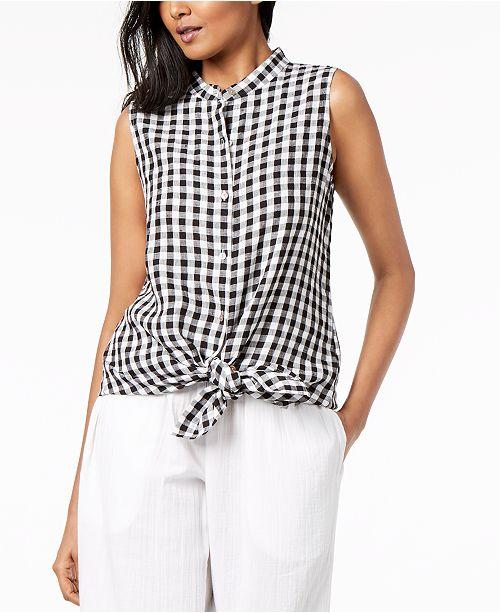 3cc688f8e3c ... Eileen Fisher Organic Cotton Gingham Mandarin-Collar Tunic, Regular &  Petite ...