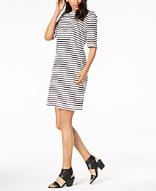 Eileen Fisher Organic Linen Striped Dress, Regular and Petite