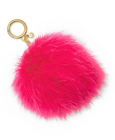 MICHAEL Michael Kors Large Round Feather Pom Pom Key Charm