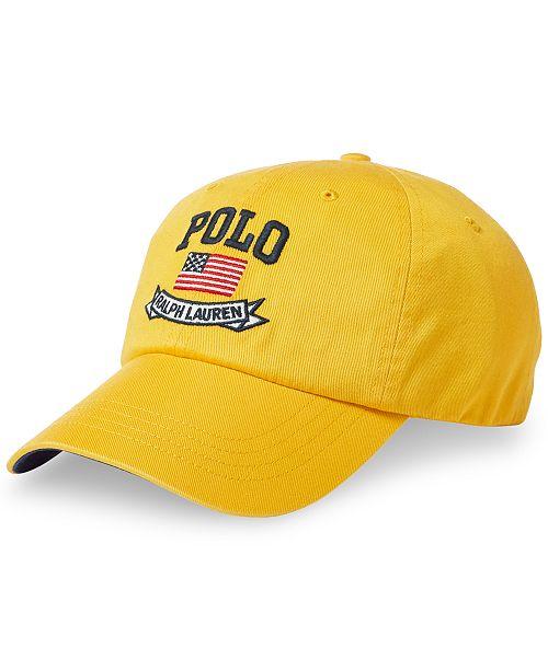 Polo Ralph Lauren Men s American Flag Chino Baseball Cap - Hats ... e41e7686d381
