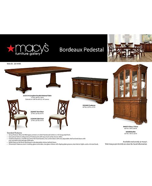549203f1d2e1 Furniture Bordeaux Double Pedestal Dining Room Furniture Collection ...