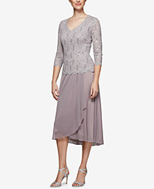 Alex Evenings Sequined Lace Midi Dress