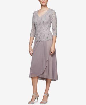 Alex Evenings Sequined Lace Midi Dress 6273907