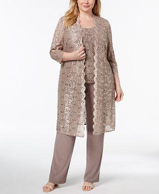 R M Richards 3 Pc Plus Size Sequined Lace Pantsuit Shell