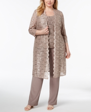 R & M Richards 3-Pc. Plus Sequined Lace Pantsuit & Shell