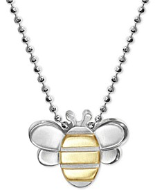 "Bumble Bee 16"" Pendant Necklace in Sterling Silver & 18k Gold"