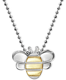 "Alex Woo Bumble Bee 16"" Pendant Necklace in Sterling Silver & 18k Gold"