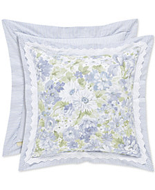 "Piper & Wright Flower Bed Blue 16"" Square Decorative Pillow"