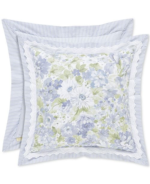 """Piper & Wright CLOSEOUT! Flower Bed Blue 16"""" Square Decorative Pillow"""