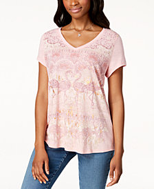 Style & Co Petite Printed V-Neck Top, Created for Macy's