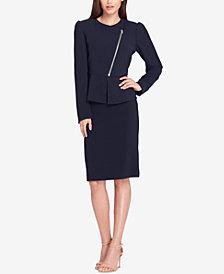 Tahari ASL Asymmetrical Zip-Front Skirt Suit