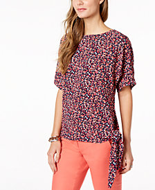 MICHAEL Michael Kors Floral-Print Tie-Hem Top in Regular & Petite Sizes