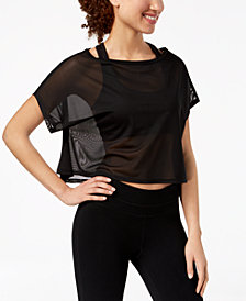 Material Girl Juniors' Printed Active Top, Created for Macy's