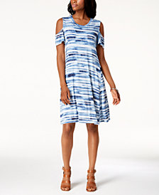 Style & Co Tie-Dyed Cold-Shoulder Dress, Created for Macy's