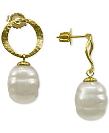 Majorica Gold-Tone Imitation Baroque Pearl Drop Earrings