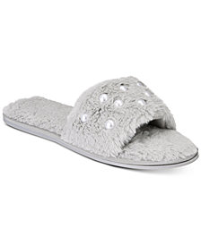 I.N.C. Embellished Faux-Fur Slide Slippers, Created for Macy's