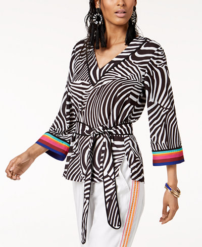 Trina Turk x I.N.C. V-Neck Belted Blouse, Created for Macy's