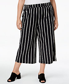 Eileen Fisher Plus Size Organic Cotton Striped Wide-Leg Capri Pants