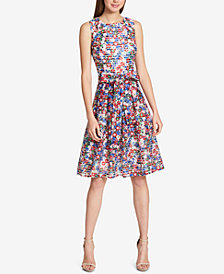 Tommy Hilfiger Shadow-Stripe Fit & Flare Dress