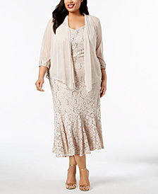 R & M Richards Plus Size Embellished Lace Dress & Jacket