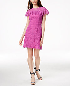 Trina Turk Crochet Ruffled Dress