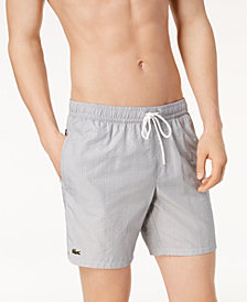 "Lacoste Men's 6.75"" Striped Seersucker Swim Trunks"