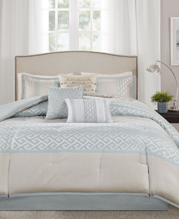 William Greek Key Print Comforter Set (King) Aqua - 7pc