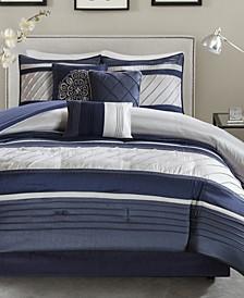 Blaire 7-Pc. Faux-Silk King Comforter Set