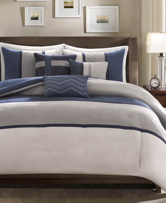 Madison Park Palisades 6-Pc. Full/Queen Duvet Cover Set, Blue, Size: Full/Queen
