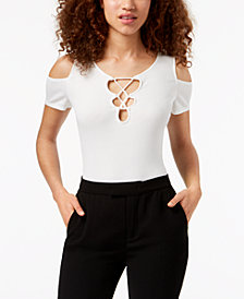 Material Girl Juniors' Cold-Shoulder Lace-Up Bodysuit, Created for Macy's