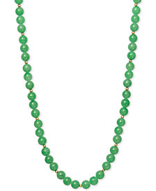 "Dyed Jadeite (8mm) & Gold Ball Beaded 18"" Collar Necklace in 14k Gold"