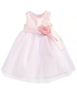 Blueberi Boulevard Baby Girls Brocade  Mesh Dress