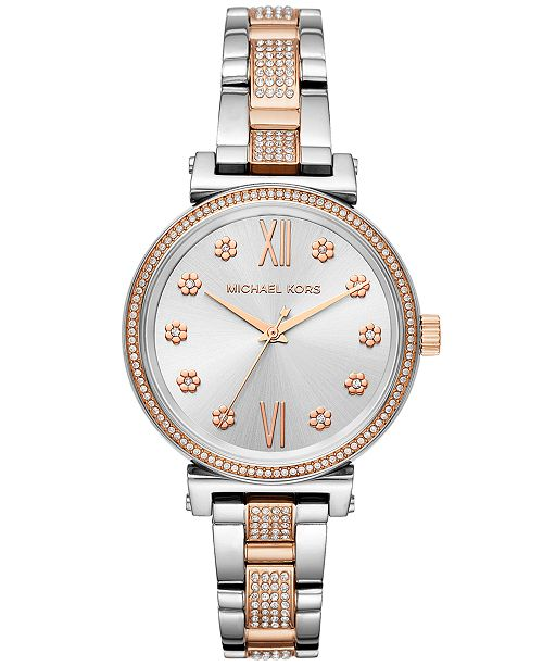 32e80f8de ... Michael Kors Women's Sofie Two-Tone Stainless Steel Bracelet Watch ...