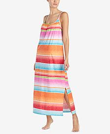 Lauren Ralph Lauren Fashion Knits Striped Cotton Nightgown