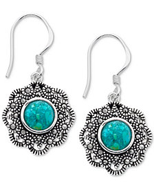Marcasite and Manufactured Turquoise Drop Earrings in Fine Silver-Plate