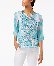 JM Collection Petite Split-Neck Studded Top, Created for Macy's