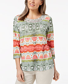 Alfred Dunner Parrot Cay Embellished Printed Top