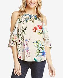 Karen Kane Floral-Print Cold-Shoulder Top