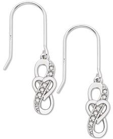 Diamond Heart Drop Earrings (1/10 ct. t.w.) in Sterling Silver
