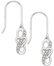 Diamond Heart Drop Earrings (1/10 ct. t.w.) in Sterling Silver