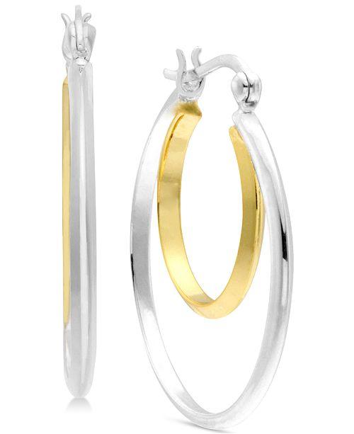 Essentials Medium Two-Tone Double Medium Hoop Earrings  in Silver- & Gold-Plate