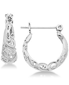 Essentials Small Filigree Hoop Earrings in Fine Silver-Plate