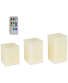 4-Pc. Square Color-Changing Flameless Candle & Remote Control