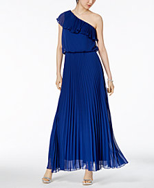 Xscape Pleated Chiffon One-Shoulder Gown