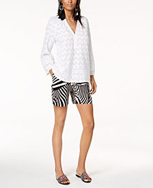 Trina Turk x I.N.C. Peasant Blouse & Zebra-Print Shorts, Created for Macy's