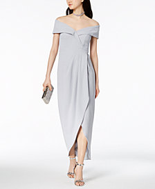 XSCAPE Off-The-Shoulder Tulip-Hem Gown