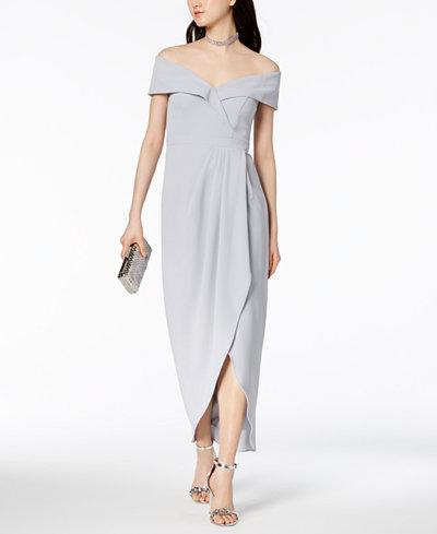 XSCAPE Off-The-Shoulder Tulip-Hem Gown